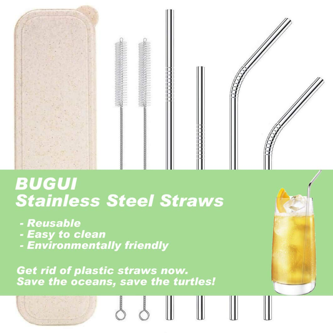 """Reusable Stainless Steel Drinking Straws with Travel Case, Set of 4 (8.5""""+10.5"""" Long), Fit 20/30/40 oz Yeti Tumbler Rumbler, Eco-Friendly Solution by Bugui. (2 Straight 