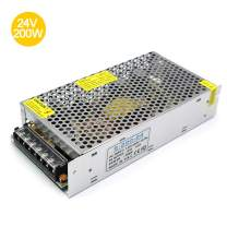 inShareplus 24V 8.5A 200W, DC Universal Regulated Switching Power Supply, Converter AC 100-240V to DC 24 Volt LED Driver, Transformer,Adapter for LED Strip Light, 3D Printer, Computer Project, CCTV