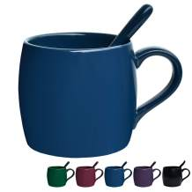Bosmarlin Ceramic Coffee Mug with Spoon, Blue Tea Cup for Office and Home, Dishwasher and Microwave Safe, 14 oz, 1 Pack (Blue(Glossy))