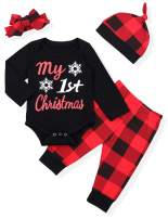 My First Christmas Newborn Baby Boys Girls Clothes Christmas Tree Romper +Plaid Pants with Hats Winter Outfit Set