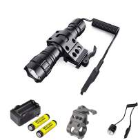 LED Tactical Flashlight Rechargeable 2200Lumens Mini Handheld Light with Pressure Switch/Rail Mount Water-Resistance Flashlights for Camping, Hunting (Battery included)