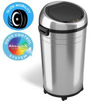 iTouchless Glide 23 Gallon Sensor Trash Can with Wheels and Odor Control System, Stainless Steel, 87 Liter Automatic Kitchen Bin and Office Garbage Can (Powered by Battery or Optional AC Adapter)