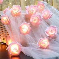 Fantasee LED Pink Rose Flower String Lights Battery Operated for Wedding Home Party Birthday Festival Indoor Outdoor Decorations Large Rose Flower Diameter 6cm (16.4ft 50LED, Pink Rose Warm Lights)