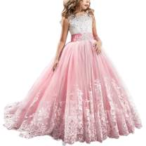 FYMNSI Flowers Girls Applique Tulle Lace Wedding Dress First Communion Birthday Christmas Prom Ball Gown Watermelon Pink 4-5T