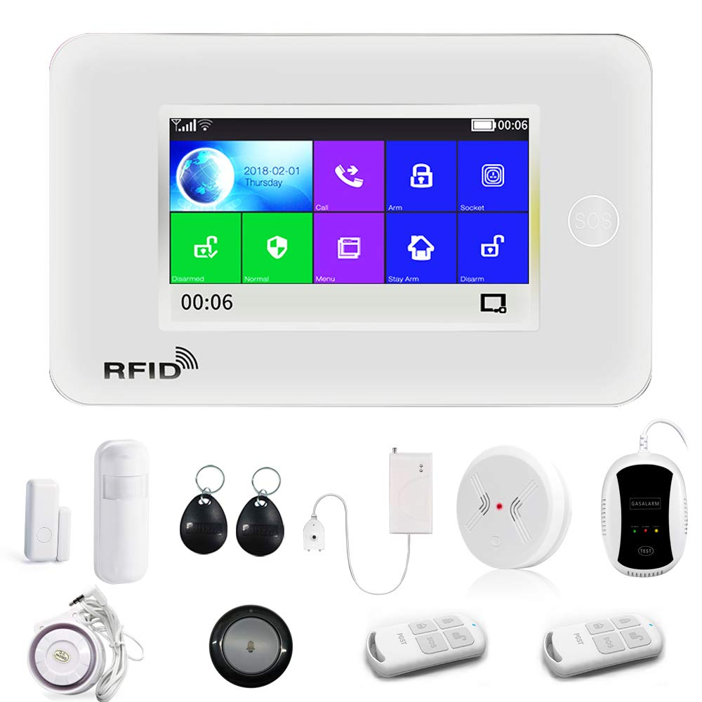 WiFi Security Alarm System Kit, APP Remote Control, Intelligent 4.5' Touch Display Voice Prompt   Wireless Burglar Alarm For Home Office, Kit Are already Paired, Just Power On and Use, Easy to Install