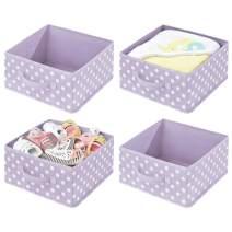 mDesign Soft Fabric Closet Storage Organizer Bin Box - Front Handle, for Cube Furniture Shelving Units Bedroom, Nursery, Toy Room - Polka Dot Print - 4 Pack - Light Purple/White