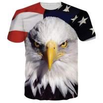 RAISEVERN T Shirts for Men Women 3D Printed Summer Short Sleeve Shirts Workout Top Tees