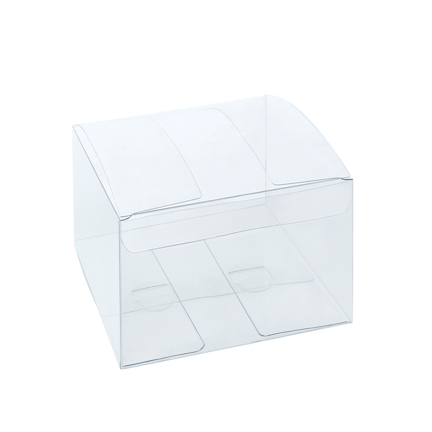 """LaRibbons 50Pcs PET Clear Box, Transparent Boxes, Candy Box, Clear Gift Boxes for Wedding, Party and Baby Shower Favors, 4"""" L x 4"""" W x 2.5"""" H"""