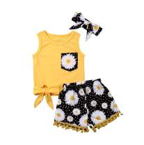 Toddler Baby Girls Letters Print Tank Top Tank Tops +Tassel Floral Pompom Shorts 2Pcs Outfits Clothes Summer Shorts Sets