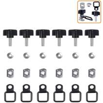 ELONN Jeep Wrangler Hardtop/Cover Quick Removal Fastener Thumb Screw + Nut + Washer + Tie-Down D-Rings Kit Fits All CJ YJ TJ JK JKU - (Pack of 6)