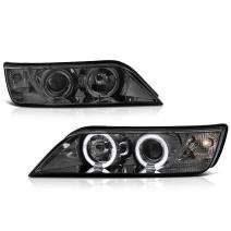 [For 1996-2002 BMW Z3] LED Halo Ring Chrome Smoke Projector Headlight Headlamp Assembly, Driver & Passenger Side