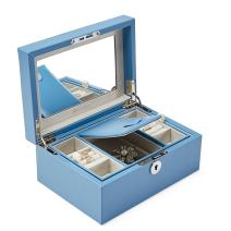 Vlando Retro Lockable Jewelry Box Organizer w/Large Mirror and Key - 2-Layer for Necklaces Earrings Rings Holder Storage - Updated Microfiber PU Leather in River Blue