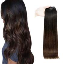 Full Shine 14 Inch Balayage Human Hair Weft Remy Hair Extensions Dyed Hair Color 1B Off Black Fading To 4 Brown Weft Real Hair Bundles 100 Gram Natural Brazilian Hair Bundles For Women