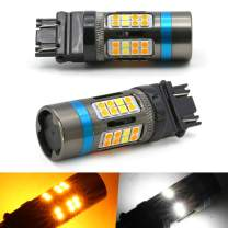 Syneticusa 3157 Error Free Canbus Dual Color Switchback LED Turn Signal Light Bulbs No Hyper Flash All in One Built In Resistors (Turn Signal--Amber and white alternate flash)