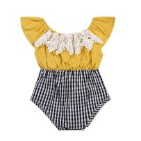 GRNSHTS Baby Girl Romper Ruffle Sleeve Lace Plaid Spliced Grid Jumpsuit