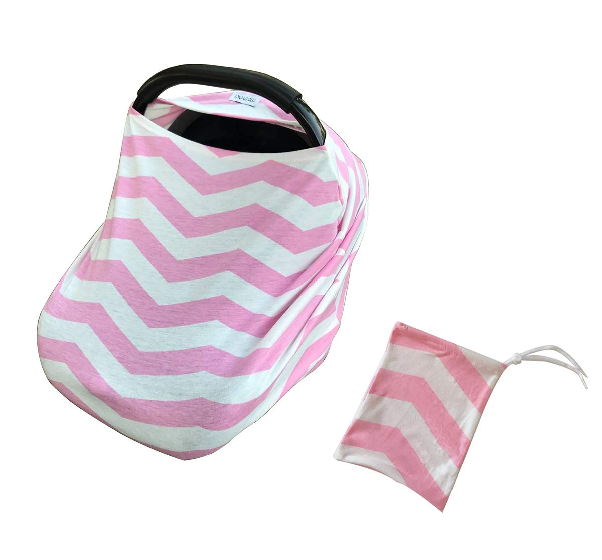Baby Car Seat Covers-Nursing Cover Breastfeeding Scarf-Infant Stroller Cover,Carseat Canopy for Girls and Boys-Perfect Baby Shower Gift by TSD STORY(Pink White Chevron)