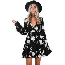 Young17 Flare Long Sleeve Boho Floral Printed Sexy V Neck Black Party Wrap Skater Mini Women Dress