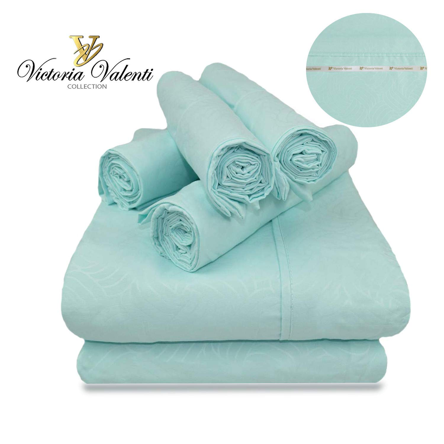 Victoria Valenti Embossed Sheet Set with 2 Pillow Cases, Double Brushed and Ultra Soft with Deep Pockets for Extra Deep Mattress, Microfiber, Hypoallergenic TW Aqua
