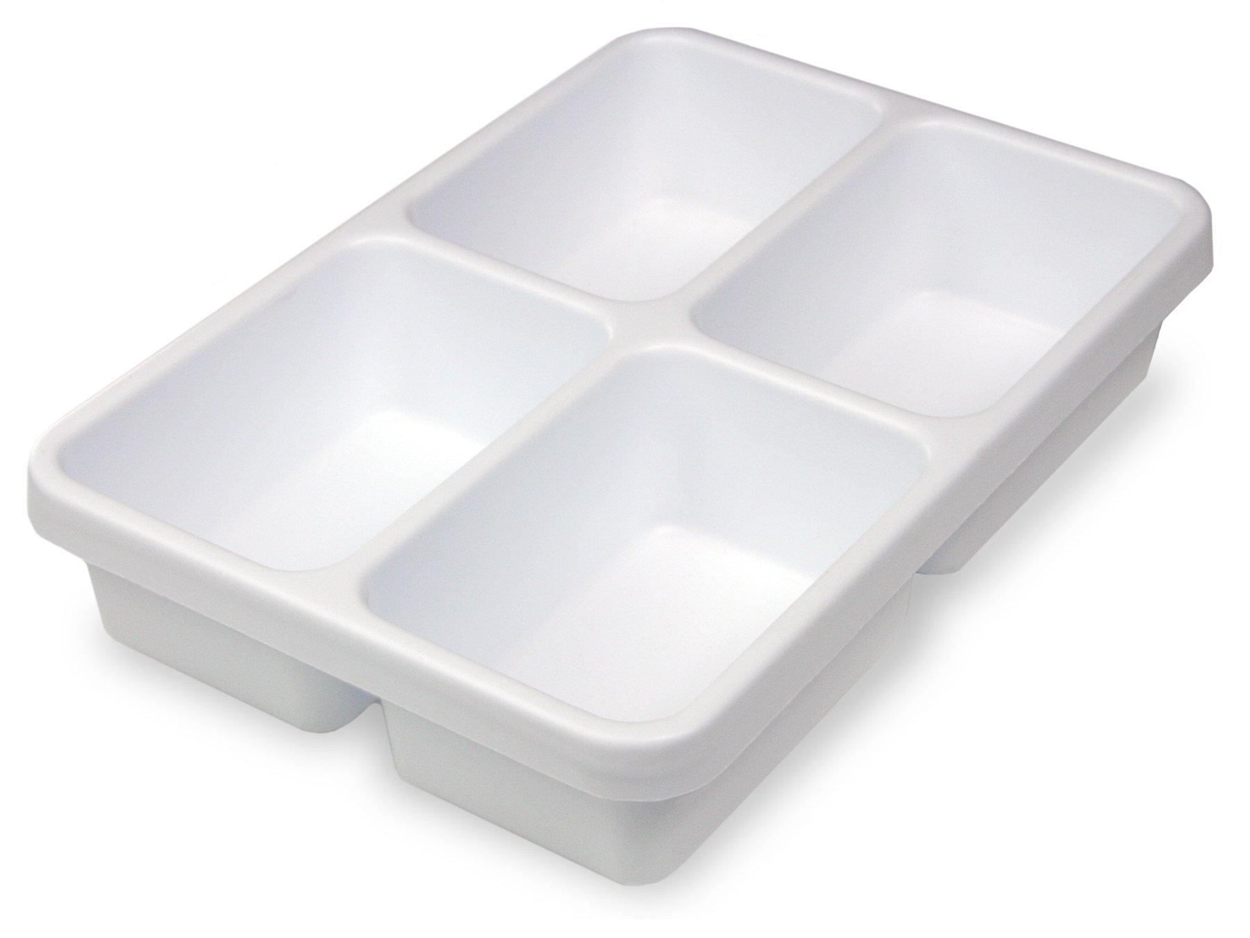"TrippNT 50180 White Polystyrene Plastic Drawer Organizer, 4 Pocket: 14"" Width x 3"" Height x 10"" Depth"