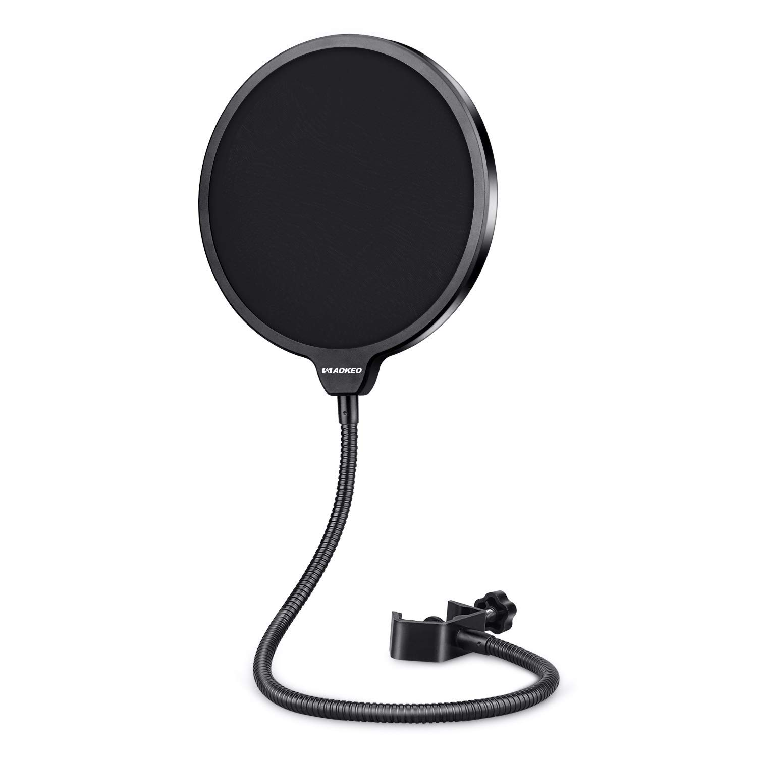Aokeo Professional Microphone Pop Filter Mask Shield For Blue Yeti and Any Other Microphone, Dual Layered Wind Pop Screen With A Flexible 360° Gooseneck Clip Stabilizing Arm