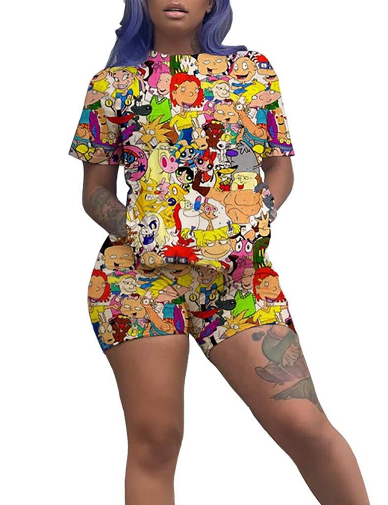 WOKANSE Women's Fashion Printed Short Sleeve T-Shirts Shorts Set Sportswear Two Piece Outfits