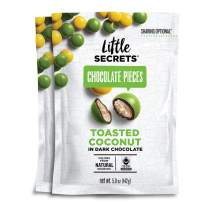 Little Secrets Chocolate Pieces, Toasted Coconut Flavor, All Natural, Fair Trade, Gourmet Dark Chocolate Candy, No Artificial Dyes, Healthy Snacks and Treats, No Corn Syrup, (2 Pack)