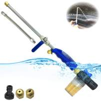 Hydro Jet Pressure Power Washer Wand - 27''Extendable Watering Sprayer Gun, Hose Pressure Washer Attachment , Washing Car, Window,Glass Outdoor Cleaning Tool, Snow Foam Cannon,2 Sprinkler Nozzle Tips