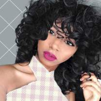 ENTRANCED STYLES Short Curly Kinky Wigs for Black Women Natural BlackBobWig with Bangs 14 Inch Natural Looking Big Bouncy Fluffy Curly Wig Daily Party Use