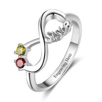 jewelora Personalized Infinity Sister Ring with 2 Round Simulated Birthstones Best Friends Promise Rings for Her