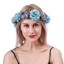 Barode Rose Flower Crown Wedding Bridal Flower Wreath Headband Blue Hair Garland Bride Wedding Headpiece for Women and Girls