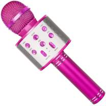 SUNY Wireless Bluetooth Karaoke Microphone with Speaker & Record Function, Best Gift Singing Toy for Kid (Pink)