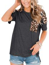 PRETTODAY Women's Leopard Print Short Sleeve Tops Round Neck Loose Shirts with Pockets