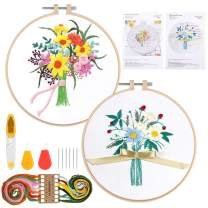 Embroidery Starter Kit with Pattern, RELIAN Full Range of Stamped Embroidery Kit Including Instructions, 2 Needle Threader, 2 Plastic Embroidery Hoop, Color Threads and Tools Kit
