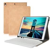 iPad Pro 10.5 Keyboard Case, Detachable Wireless Bluetooth Keyboard, Premium iPad Keyboard Case with Pencil Holder for iPad Air 3rd Gen 10.5 inch 2019 /iPad Pro 10.5 inch 2017 - Nude