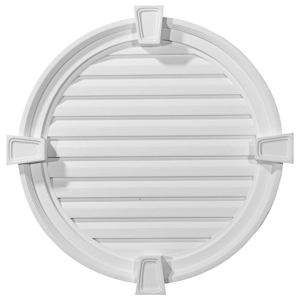Ekena Millwork GVRO24FK 24-Inch W x 24-Inch H x 2 1/8-Inch P Round Gable Vent with Keystones, Functional