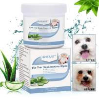 GHEART Eye Tear Stain Remover Wipes for Cats & Dogs - Pet Eye Care - 100 Presoaked Cotton Pads - Best Natural Eye Crust Treatment for White Fur - Chemical and Bleach Free (Eye Wipes)