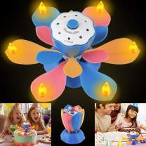 LED Birthday Candles, Flameless Musical Birthday Candles with 3 Adjustable Flash Modes, Rotatable Flower Birthday Cake Toy with Blow Out Design for Birthday Party Decoration (Colorful)