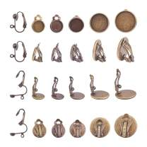 PH PandaHall 50pcs 5 Sizes Antique Bronze Brass Clip-on Earring Backs Cabochon Setting Bezel Components 10pcs Clip-on Earring Converter with Easy Open Loop for Non-Pierced DIY Earring Studs