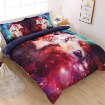 DECMAY 3D Galaxy Wolf Bedding Sets for Boys and Girls 3PCs Cool Wolf Print Galaxy Bed Set Durable and Soft Comforter Cover Set for Teens (Full-3PCS, Cool Wolf)
