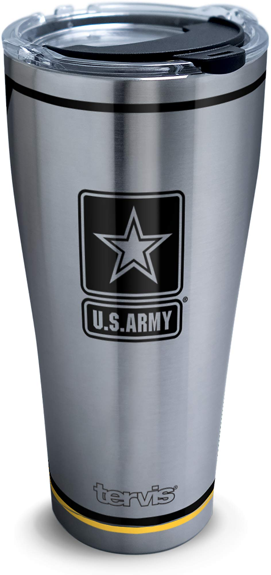Tervis Army Forever Proud Stainless Steel Insulated Tumbler with Clear and Black Hammer Lid, 30oz, Silver