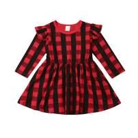 Toddler Baby Girl Christmas Dress Princess Party Ruffle Sleeve Red Plaid Tutu Dresses