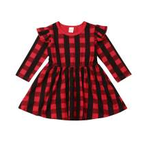 Toddler Baby Girl Christmas Dress Princess Party Ruffle Sleeve Red Plaid Tutu Dresses