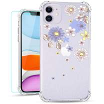 Ruky iPhone 11 Case, Clear Floral Flower Pattern Glitter Design Slim Flexible TPU Girls Women Shockproof Cover Phone Case for iPhone 11 6.1 Inch (2019) (Flower Blossom)