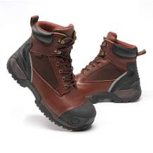 JUSRAMINC Work Boots for Men - Waterproof Non-Slip Composite Toe Safety Work Shoes