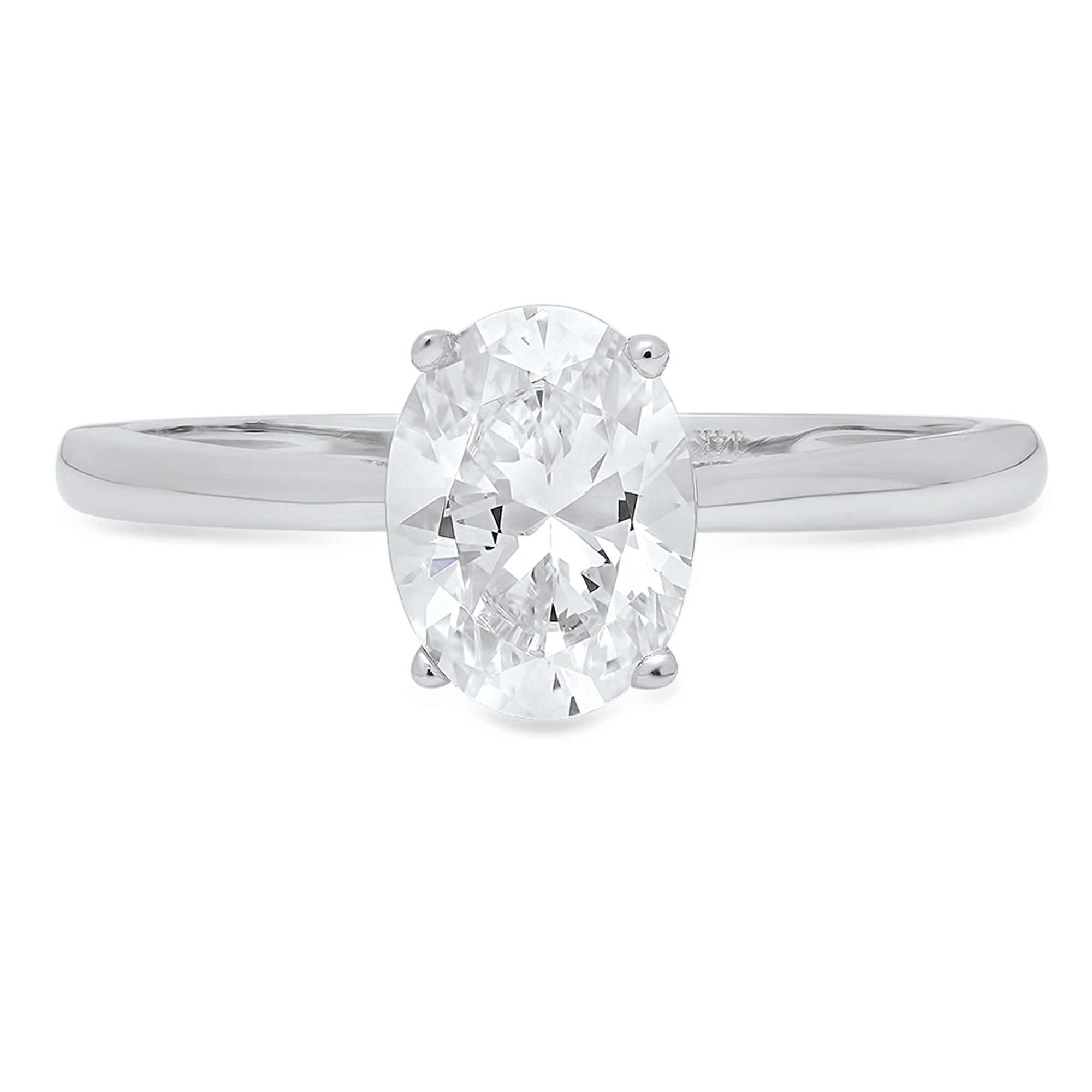 0.95ct Brilliant Oval Cut Solitaire Highest Quality Moissanite Ideal D 4-Prong Statement Ring in Solid Real 14k White Gold for Women