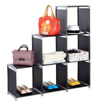 6-Cube Storage Shelves, DIY Storage Book Shelf, Open Bookshelf Closet Organizer Rack Cabinet for Toys and Daily Necessities (Black, 3 Tiers 6 Compartments)