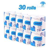 30 Rolls Toilet Paper 3-Ply Ultra Soft & Strong Paper Towels Highly Absorbent Flushable Household Towel Tissue for Home Kitchen Cafe Shop Hand Towels for Daily Use
