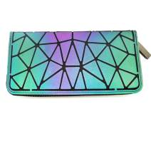 Magibag Women Geometric Rhomboids Lattice Wallet Iridescent Purse Long Coin Purse Clutch Cell Phone Case