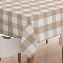 Encasa XO Tablecloth for 6 to 8 Seater Large Centre Dining Table - Buffalo Beige Checks, (60 x 120 inch) - Yarn Dyed Fabric, Mercerised, Washable, Rectangular for Home Hotel & Restaurant