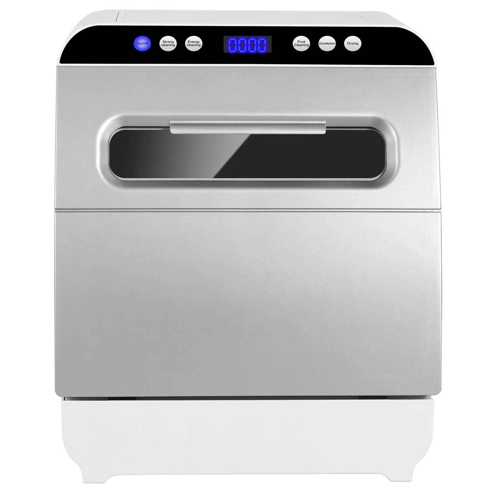 Kuppet Countertop Dishwasher, Portable Dishwasher with 6 Place Setting, 5 One-Botton Control Washing Programme, Vegetable &Fruit Washing,Air-dry Function,Silver